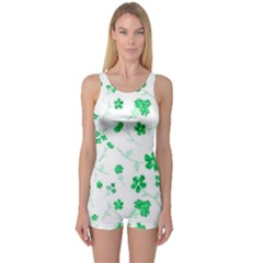Sweet Shiny Floral Green Women s Boyleg One Piece Swimsuits