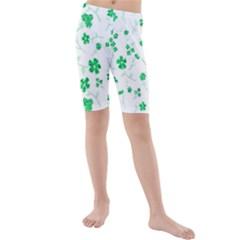 Sweet Shiny Floral Green Kid s swimwear