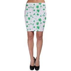 Sweet Shiny Floral Green Bodycon Skirts