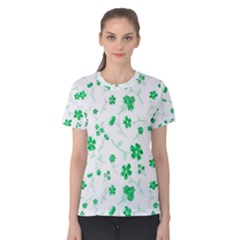 Sweet Shiny Floral Green Women s Cotton Tees