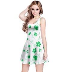 Sweet Shiny Floral Green Reversible Sleeveless Dresses