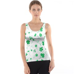 Sweet Shiny Floral Green Tank Tops