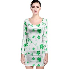 Sweet Shiny Floral Green Long Sleeve Bodycon Dresses