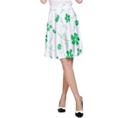 Sweet Shiny Floral Green A Line Skirts