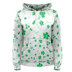 Sweet Shiny Floral Green Women s Pullover Hoodies