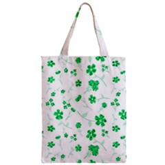 Sweet Shiny Floral Green Zipper Classic Tote Bags
