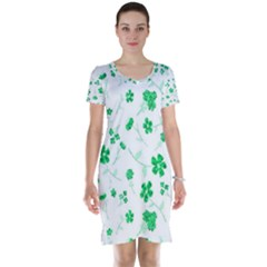 Sweet Shiny Floral Green Short Sleeve Nightdresses