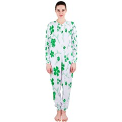 Sweet Shiny Floral Green Onepiece Jumpsuit (ladies)
