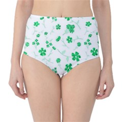 Sweet Shiny Floral Green High Waist Bikini Bottoms