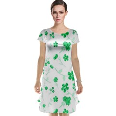 Sweet Shiny Floral Green Cap Sleeve Nightdresses