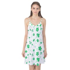 Sweet Shiny Floral Green Camis Nightgown