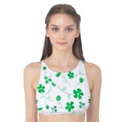 Sweet Shiny Floral Green Tank Bikini Top