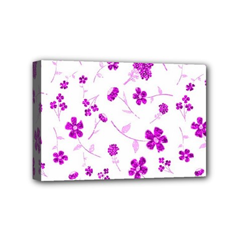 Sweet Shiny Floral Pink Mini Canvas 6  X 4