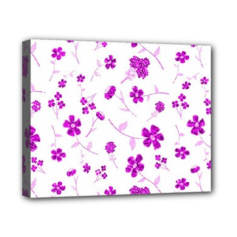 Sweet Shiny Floral Pink Canvas 10  X 8