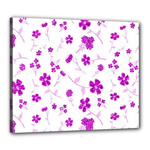 Sweet Shiny Floral Pink Canvas 24  X 20