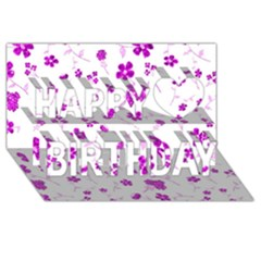 Sweet Shiny Floral Pink Happy Birthday 3D Greeting Card (8x4)