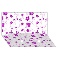 Sweet Shiny Floral Pink Twin Heart Bottom 3d Greeting Card (8x4)
