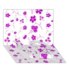 Sweet Shiny Floral Pink LOVE Bottom 3D Greeting Card (7x5)