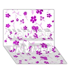 Sweet Shiny Floral Pink YOU ARE INVITED 3D Greeting Card (7x5)