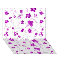 Sweet Shiny Floral Pink Clover 3D Greeting Card (7x5)