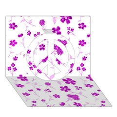 Sweet Shiny Floral Pink Peace Sign 3D Greeting Card (7x5)