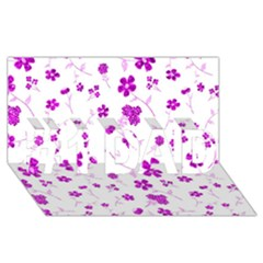 Sweet Shiny Floral Pink #1 DAD 3D Greeting Card (8x4)