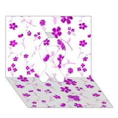 Sweet Shiny Floral Pink Ribbon 3d Greeting Card (7x5)