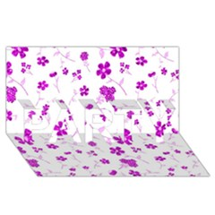 Sweet Shiny Floral Pink Party 3d Greeting Card (8x4)