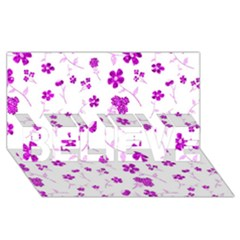 Sweet Shiny Floral Pink Believe 3d Greeting Card (8x4)
