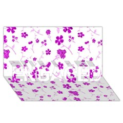 Sweet Shiny Floral Pink ENGAGED 3D Greeting Card (8x4)