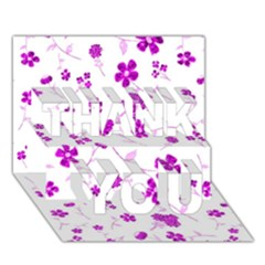 Sweet Shiny Floral Pink THANK YOU 3D Greeting Card (7x5)