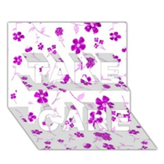 Sweet Shiny Floral Pink TAKE CARE 3D Greeting Card (7x5)