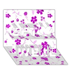 Sweet Shiny Floral Pink Get Well 3d Greeting Card (7x5)
