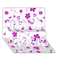 Sweet Shiny Floral Pink You Rock 3d Greeting Card (7x5)
