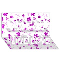 Sweet Shiny Floral Pink Laugh Live Love 3D Greeting Card (8x4)
