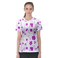 Sweet Shiny Floral Pink Women s Sport Mesh Tees