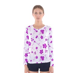 Sweet Shiny Floral Pink Women s Long Sleeve T-shirts
