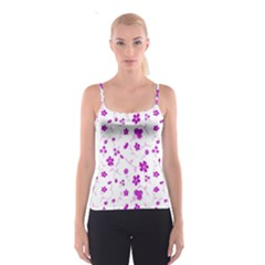 Sweet Shiny Floral Pink Spaghetti Strap Tops