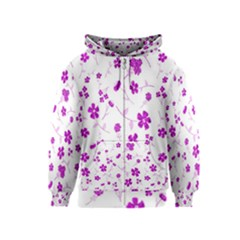 Sweet Shiny Floral Pink Kids Zipper Hoodies