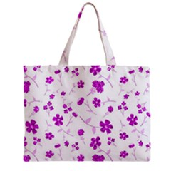 Sweet Shiny Floral Pink Zipper Tiny Tote Bags