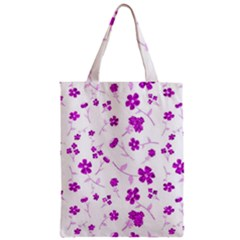 Sweet Shiny Floral Pink Zipper Classic Tote Bags