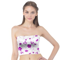Sweet Shiny Floral Pink Women s Tube Tops