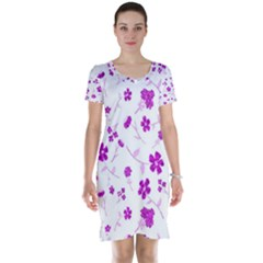 Sweet Shiny Floral Pink Short Sleeve Nightdresses