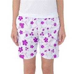 Sweet Shiny Floral Pink Women s Basketball Shorts
