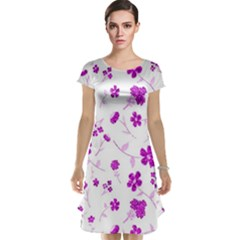 Sweet Shiny Floral Pink Cap Sleeve Nightdresses