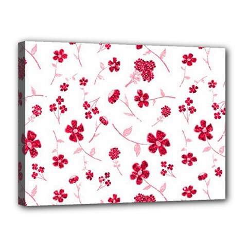 Sweet Shiny Floral Red Canvas 16  X 12