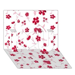 Sweet Shiny Floral Red I Love You 3D Greeting Card (7x5)