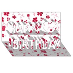Sweet Shiny Floral Red Happy Birthday 3D Greeting Card (8x4)