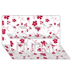 Sweet Shiny Floral Red Best Friends 3D Greeting Card (8x4)