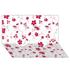 Sweet Shiny Floral Red Twin Hearts 3D Greeting Card (8x4)
